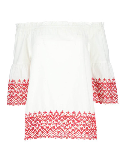 Flare Sleeve Broderie Top Womens