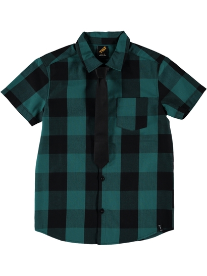 Boys Short Sleeve Woven Shirt With Tie