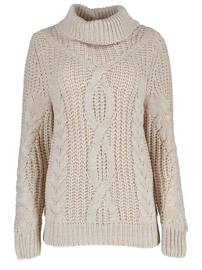 Chunky Cable Roll Neck Womens