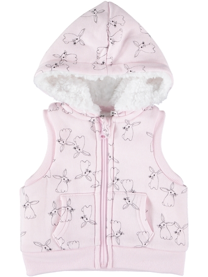 Baby Print Sherpa Hooded Vest