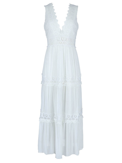 Miss Mango Maxi Dress With Lace Trim