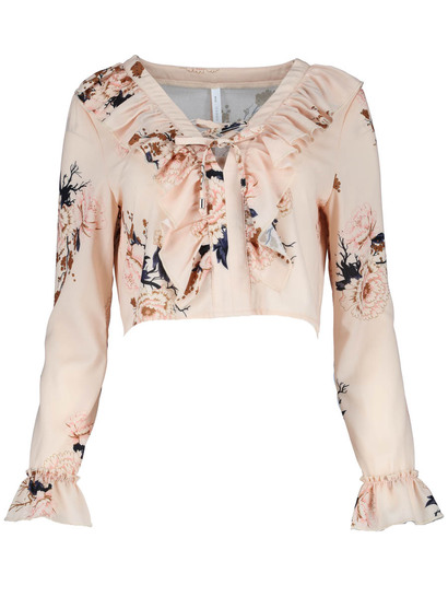 Miss Mango Ruffle Long Sleeve Crop Blouse