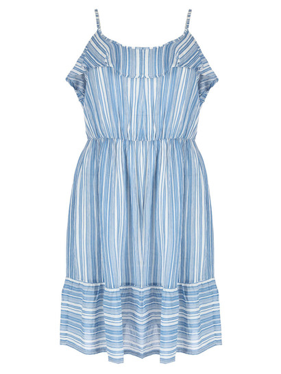 Womens Plus Stripe Frill Hem Dress