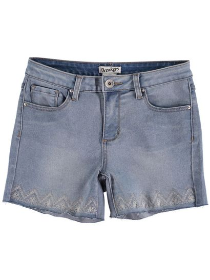 WOMENS EMBROIDERED HEM DENIM SHORT