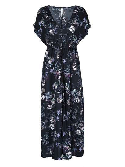 Miss Mango Black Floral Maxi Dress