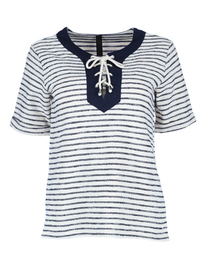 Tie Through Stripe Tee Womens