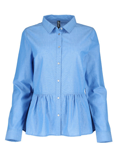 Plus Chambray Peplum Shirt Womens