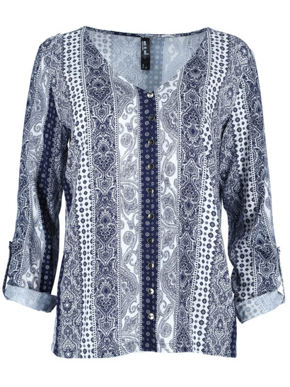 Plus Button Through Shirt Womens