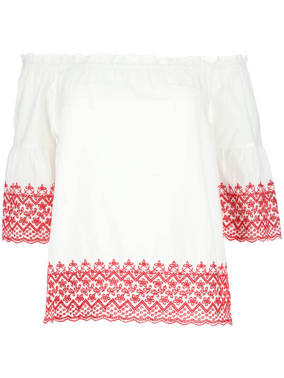 Plus Flare Sleeve Broderie Top Womens