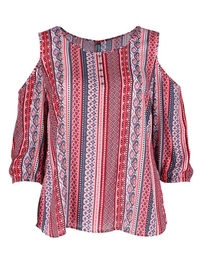 Plus Print Cold Shoulder Top Womens