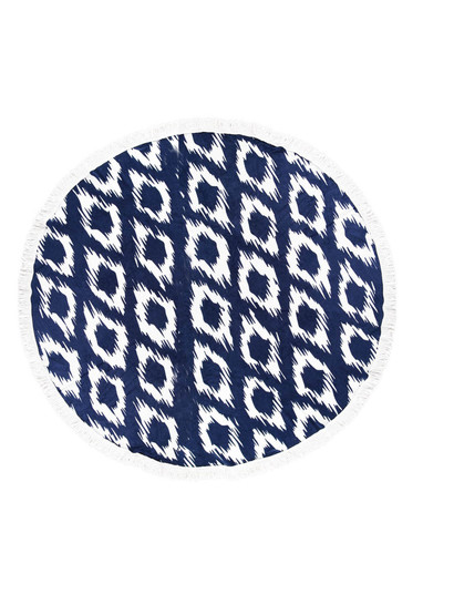 PRINTED ROUND BEACH TOWEL-NAVY IKAT