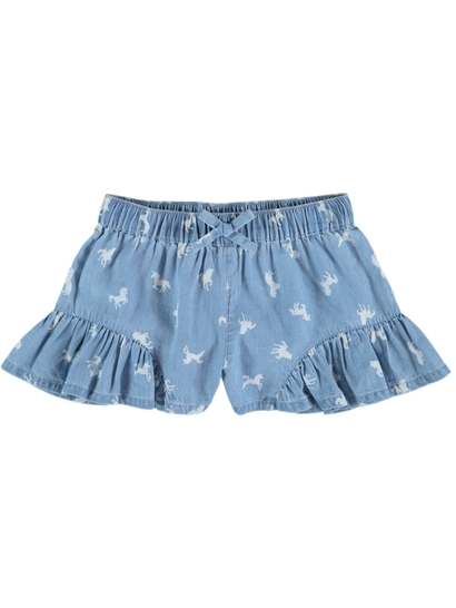 Girls Chambray Ruffle Short