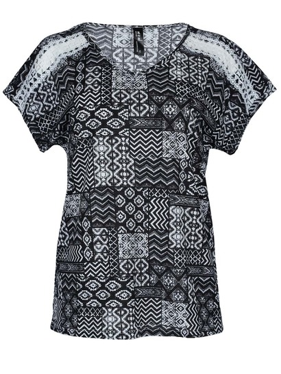 Lace Trim Woven Tee Womens