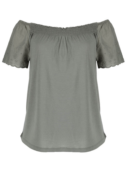 Plus Broderie Ruffle Bardot Top Womens
