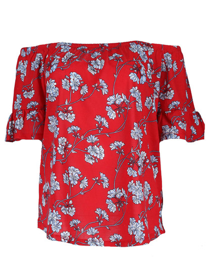 Plus Print Bardot Gypsy Top Womens