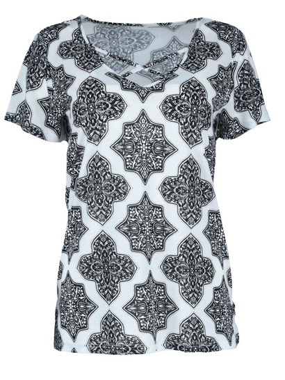 Cross Neck Print Tee Womens