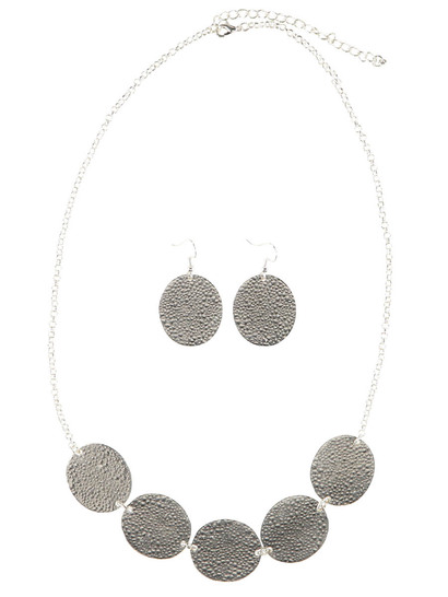 Multi Disk Necklace And Earring Set