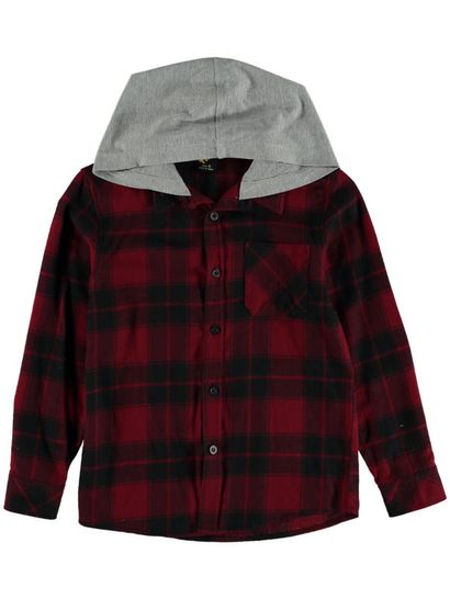 Boys Check Flannelette Shirt With Hood