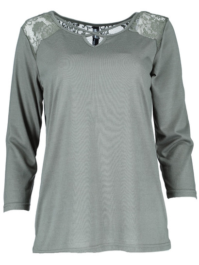 Plus Lace Yoke 3/4 Sleeve Top Womens