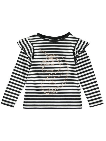 Toddler Girls Striped Ruffle Top