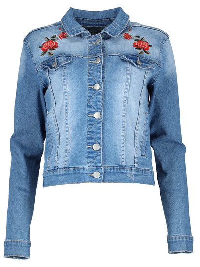 MISS MANGO EMBROIDERED DENIM JACKET
