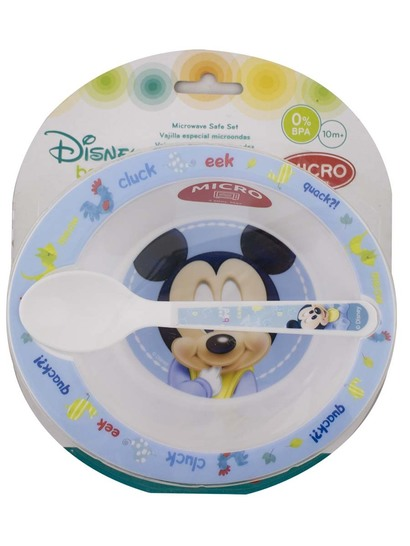 MICKEY MOUSE BOWL AND SPOON SET - BPA FREE