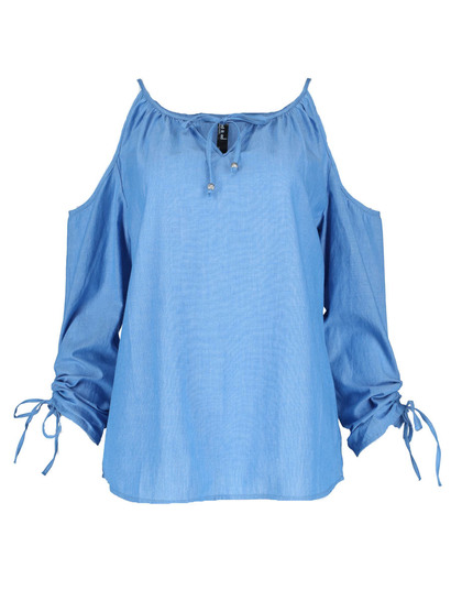 Cold Shoulder Ruche Sleeve Gypsy Womens