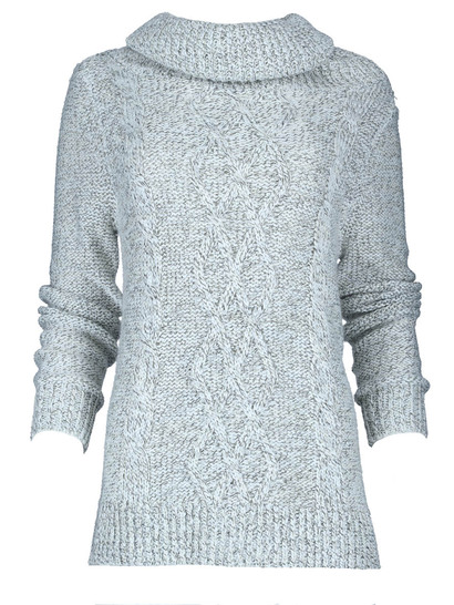 Cable Lurex Roll Neck Pullover Womens