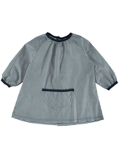 NAVY CHECK KIDS PRINTED ARTSMOCK