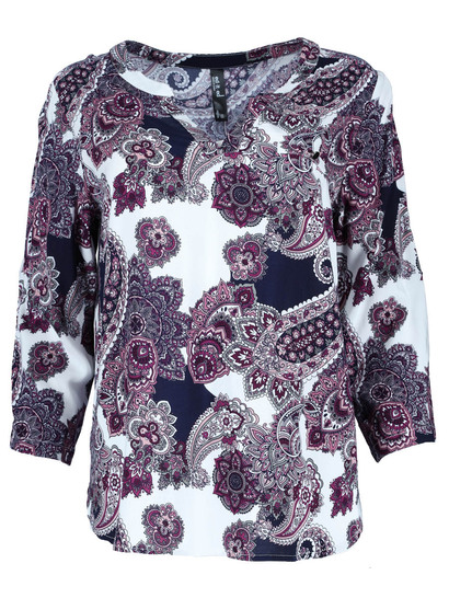Plus All-Over Print Roll Sleeve Shirt Womens