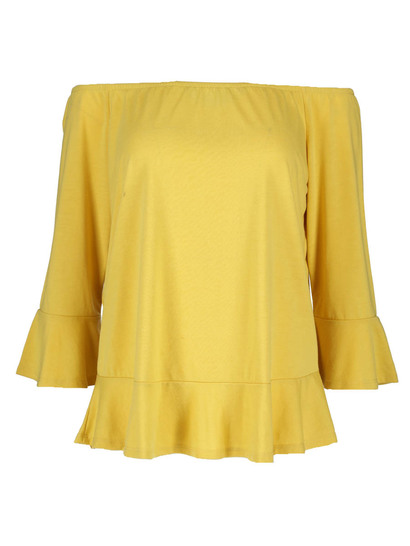 Plus Peplum Bardot Top Womens