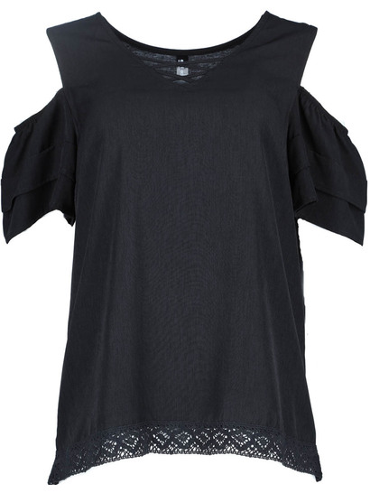 Woven Front Lace Tee Womens