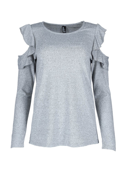 Ruffle Cold Shoulder Top Womens