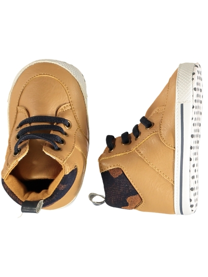 Baby Boy Soft Sole Tan High Top Shoe