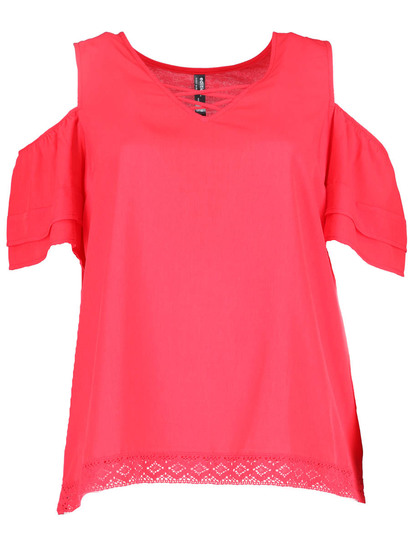 Plus Woven Front Lace Trim Tee Womens
