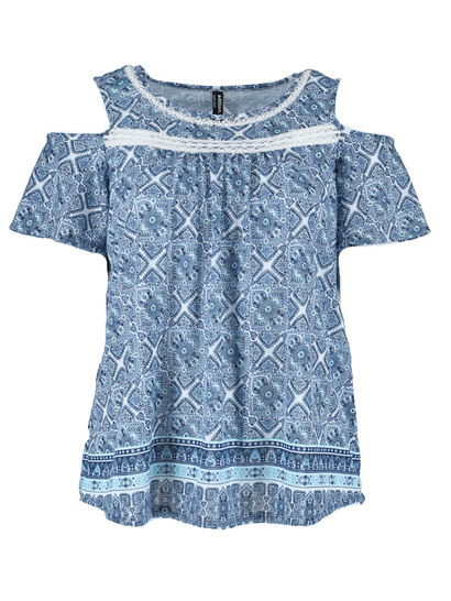 Plus Lace Trim Print Tee Womens
