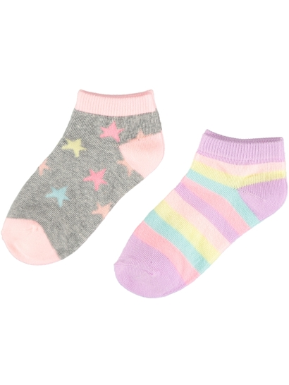 Girls 2 Pack Low Cut Fashion Socks
