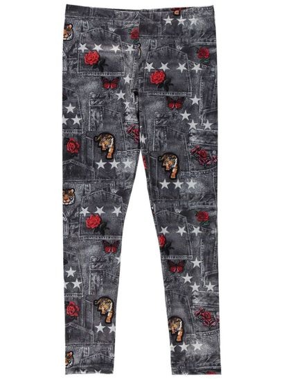 Girls Rose Denim Look Legging