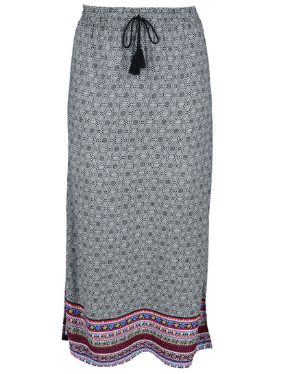 Womens Border Print Maxi Skirt