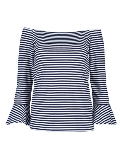 Frill Sleeve Rib Top Womens