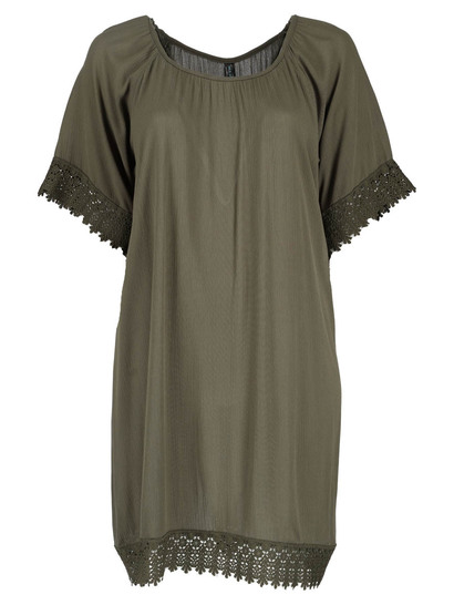 Womens Plus Crochet Trim Kaftan