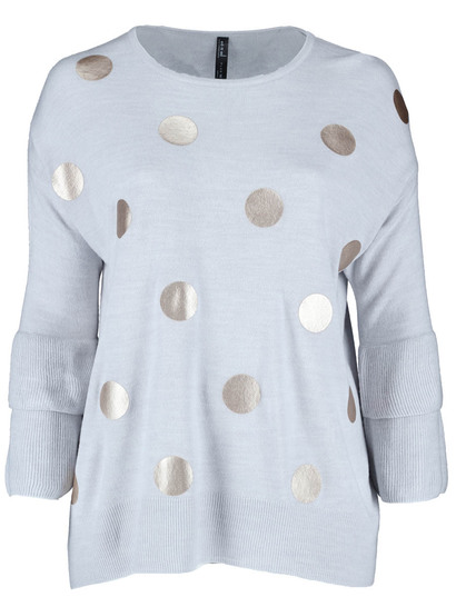 Plus Foil Print Knit Pullover Womens