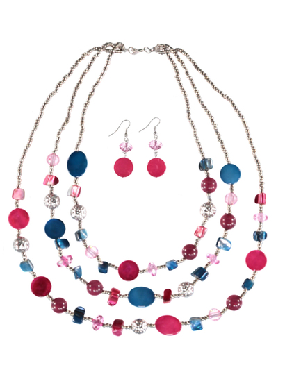 Women Multi Strand Shell Necklace And Earring Set