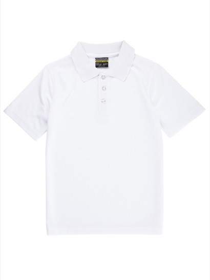 WHITE KIDS MESH POLO