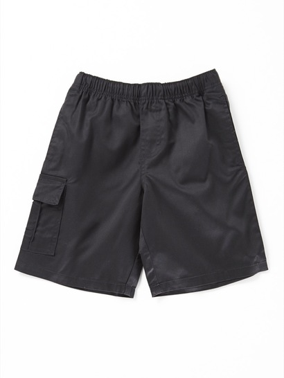 BLACK BOYS CARGO DRILL SHORTS