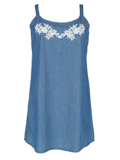 Womens Plus Embroidery Denim Dress