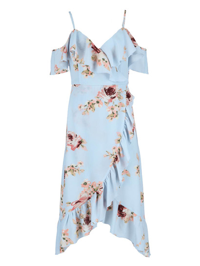 Miss Mango Cold Shoulder Wrap Dress
