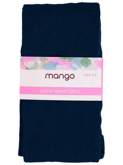 GIRLS NAVY COTTON BLEND TIGHTS