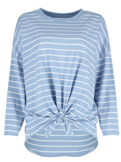 Plus Stripe Knot Front Top Womens
