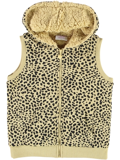 Girls Print Sherpa Hooded Vest